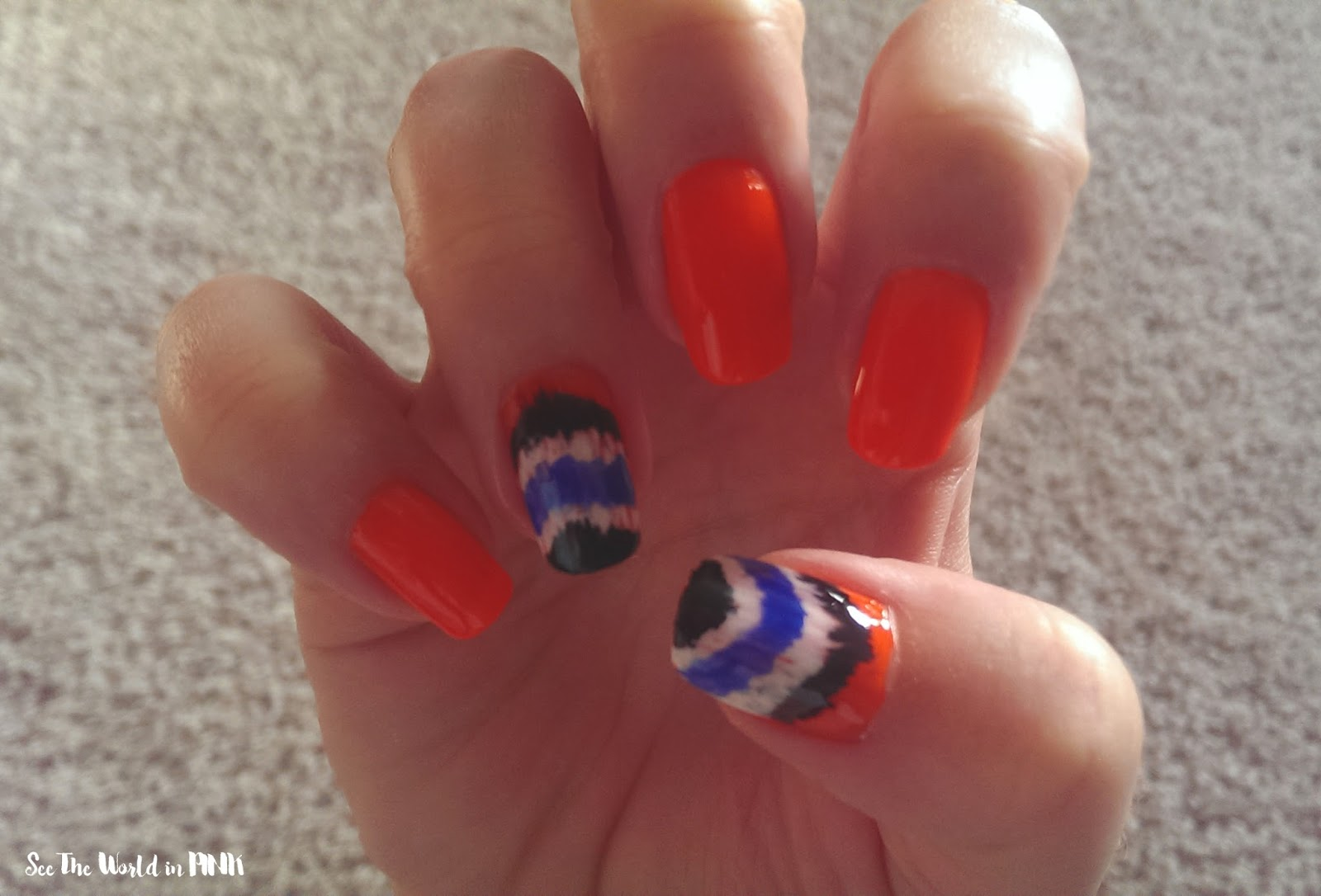 Manicure Monday Ikat Nail Art See The World In Pink