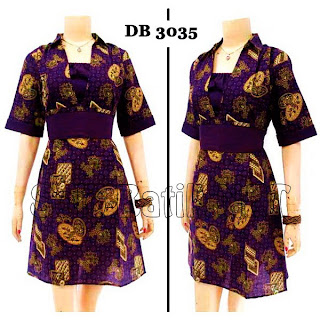 DB3035 Model Baju Dress Batik Modern Terbaru 2013