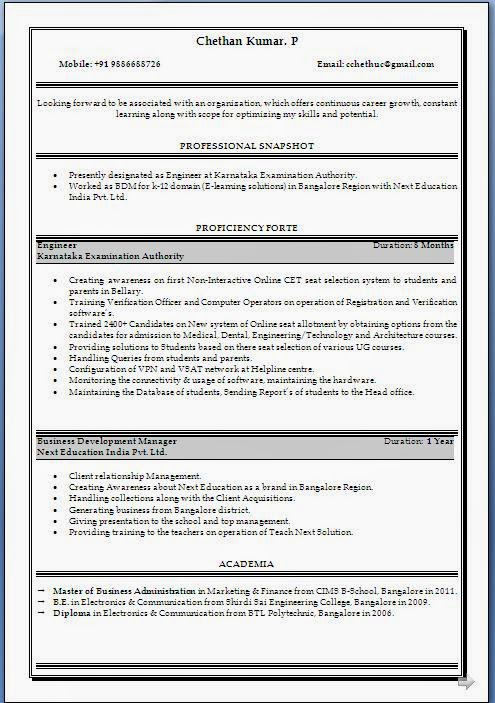 business objects resume sample