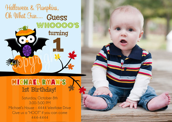 Halloween Party Birthday Invitations