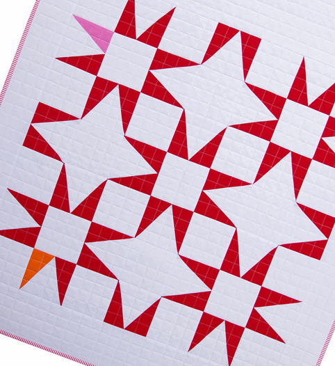 Modern Red and White Star Baby Quilt - Narcissus Motif