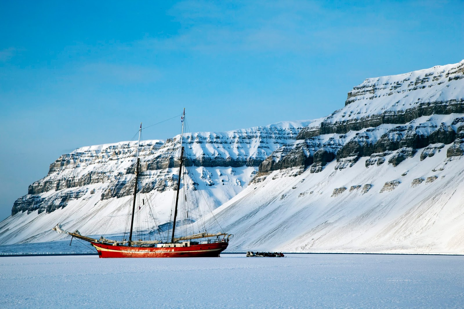 ship frozen in the ice in northern norway