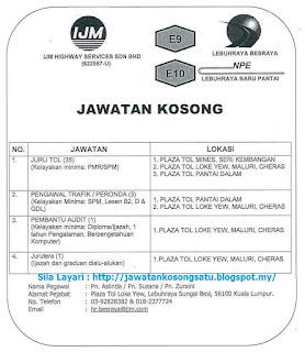 IJM Highway Services Kerja Kosong