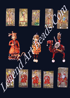 Ten drawings by Verdura of Rajput warriors as studies for brooches In the center are three brooches based on the drawings: a dyed ivory Rajput with a lemur on a leash; an ivory Rajput gentleman holding s flower; and a dyed ivory warrior with diamonds and pearls on a camel.