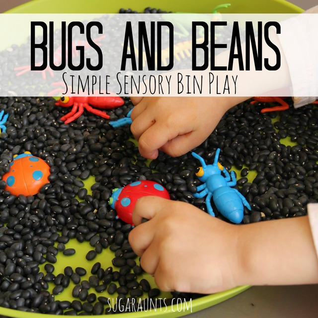 Simple sensory bin play idea with Beans and Bugs.