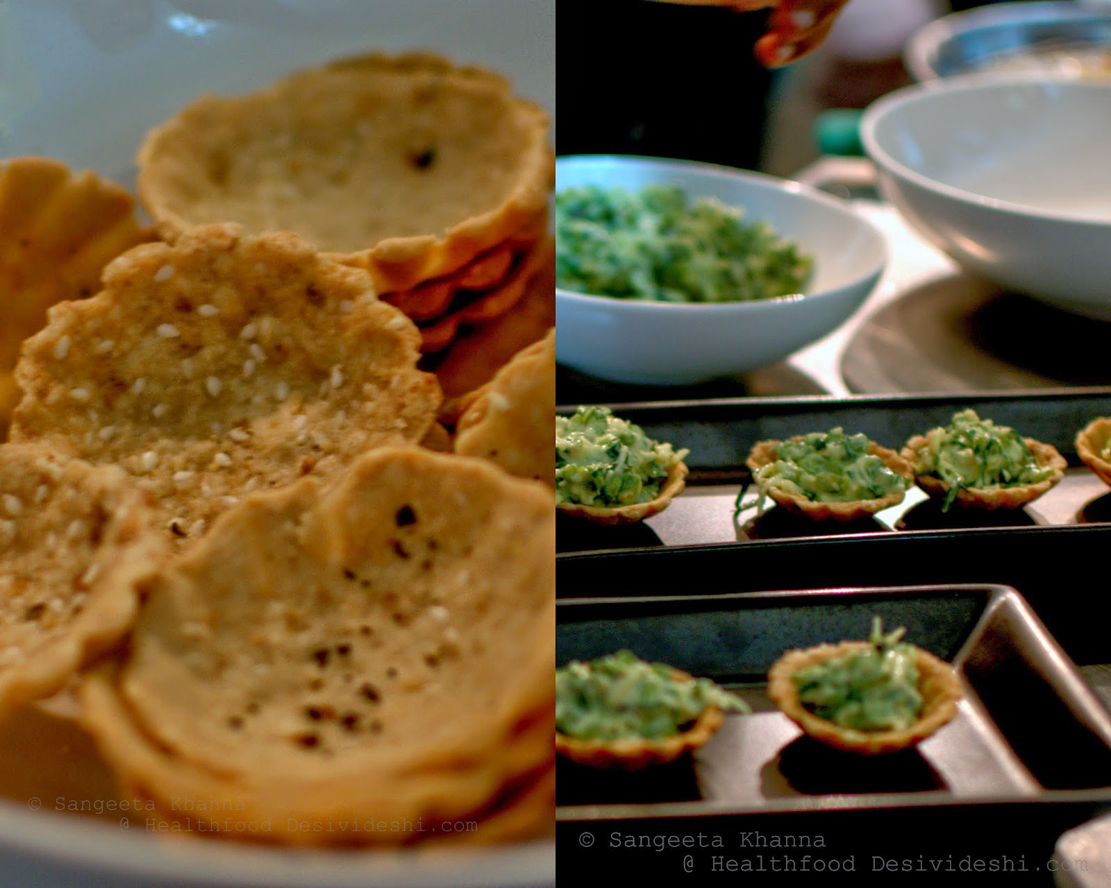 gluten free tart shells with broccoli coconut salad