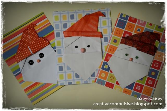 origami santa claus cards