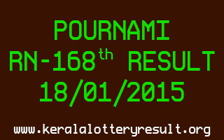POURNAMI Lottery RN-168 Result 18-01-2015