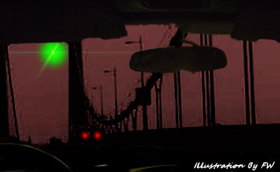 Huge Green Orb UFO Hovering Above the Bridge