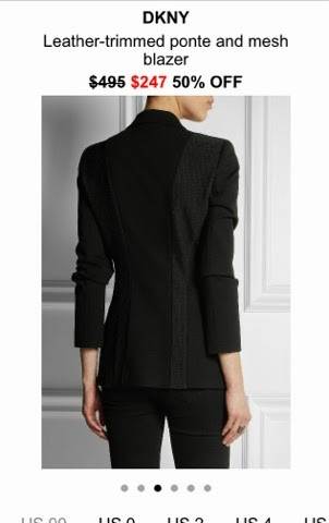 Net-A-Porter App photo of DKNY leather-trimmed blazer