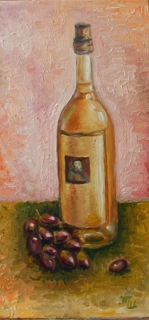 картина масло на холсте вино и кисть винограда