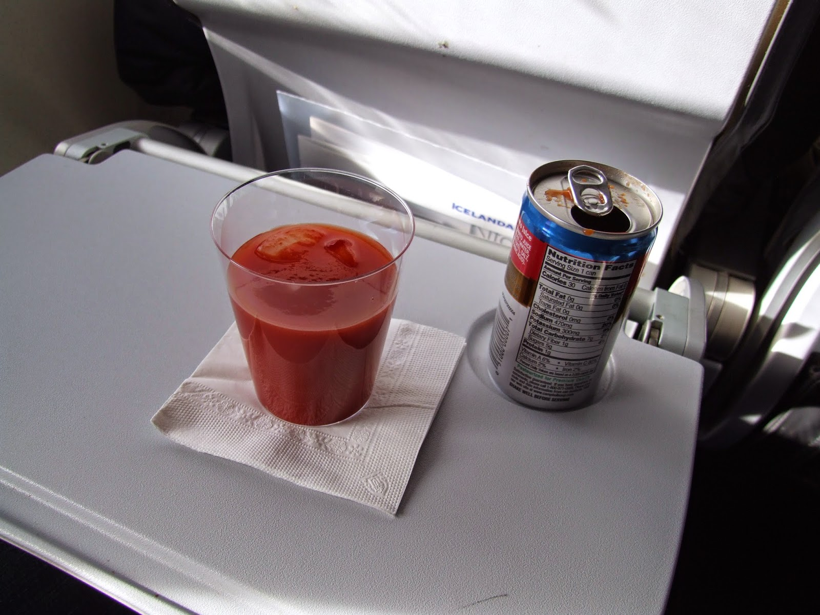Tomato juice in flight