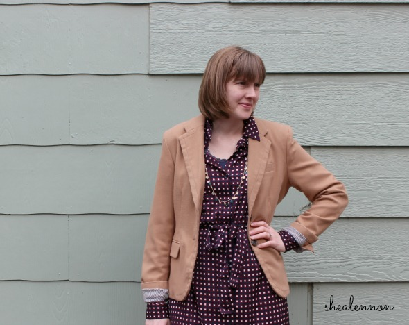 Camel Blazer and Print Shirtdress