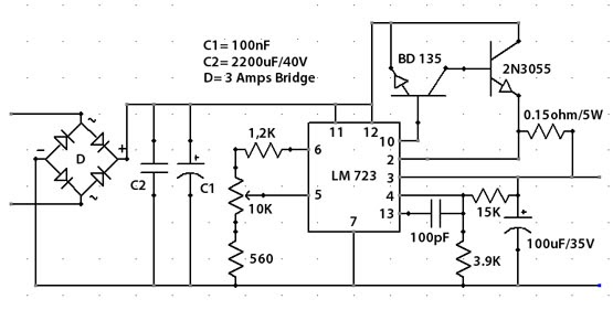 Circuits Apmilifier  LM723 25A 030 Volts Variable Power