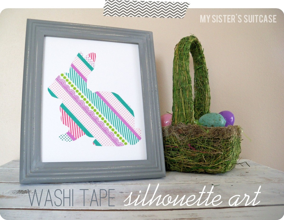 washi tape silhouette art tutorial my sister 39 s. Black Bedroom Furniture Sets. Home Design Ideas