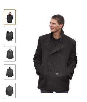 Mil-Tec Mens US Navy Pea Coat Black