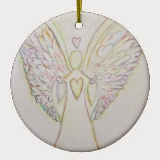 Rainbow Hearts Angel Ornament