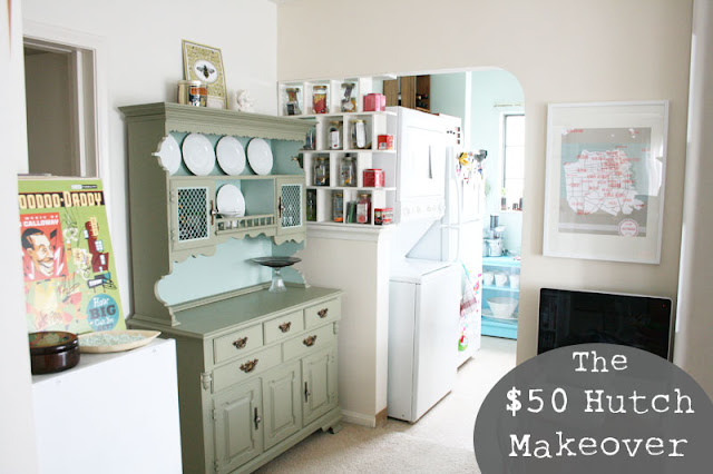 Updated an old hutch with paint and new fixtures. See more photos of this cheap update here:  http://everclevermom.com/2012/03/a-50-hutch-makeover-and-other-life-changing-moments/