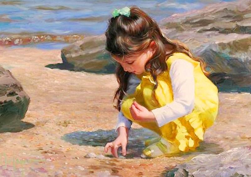 Los niños de fabiola Ni%C3%B1as+en+el+mar+pintadas+al+oleo+sobre+lienzo