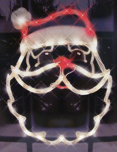 Lighted Santa Claus Face Christmas Window Silhouette Decoration