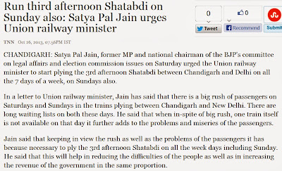 Run third afternoon Shatabdi on Sunday also: Satya Pal Jain urges Union Railway Minister