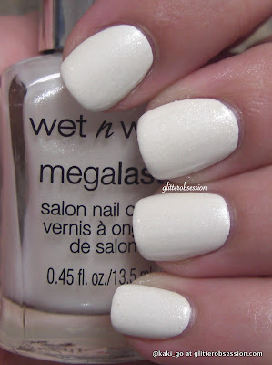 glitterobsession: Wet N Wild Megalast Break the Ice over Sally Hansen White On!