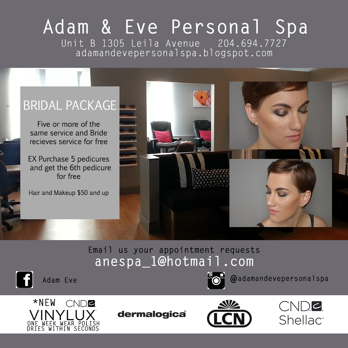 Adam and eve personal spa spa packages for Adam eve salon