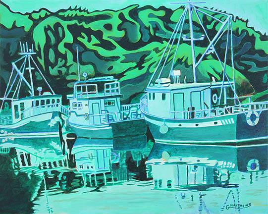 Fishing Boats Reflection - Painting