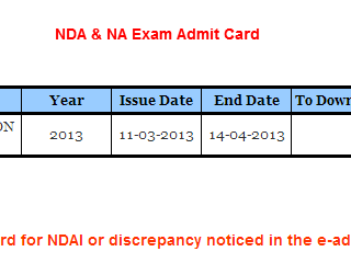 Upscadmitcardnicin Admit Card Upsc Nda And Exam Name