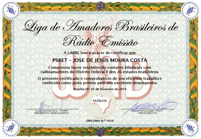 WAB - Worked All Brazil Satellite nº1010