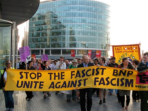 Top: Protest in London, England against the British National Party - May 6, 2008