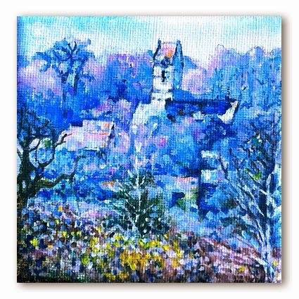 Painting -Montaigu la Brisette by Paint Walk 10 x 10 acrylic on stretched canvas