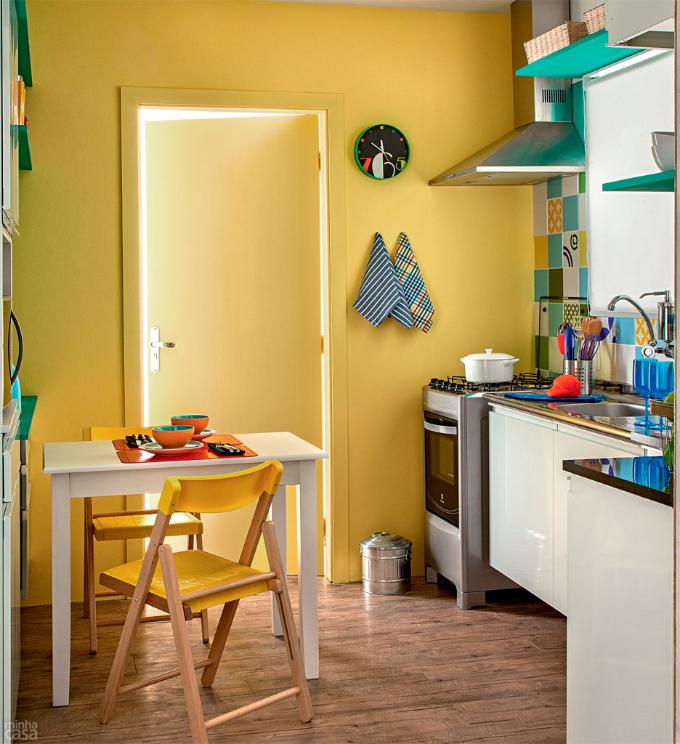 Cozinha Azul, Verde E Amarela~ Decoracao De Cozinha Azul E Amarelo