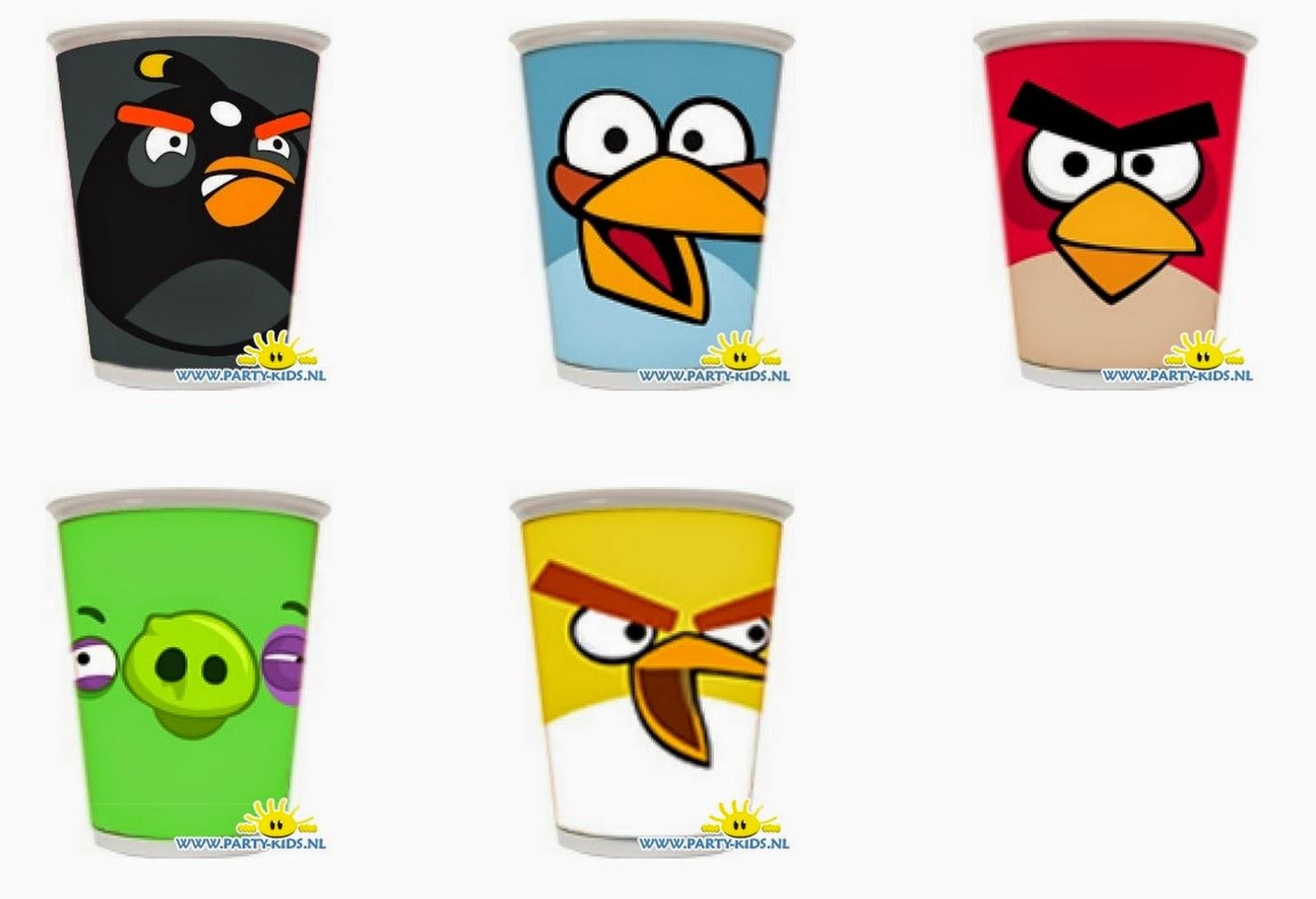 Angry Birds: imprimibles para vasos.