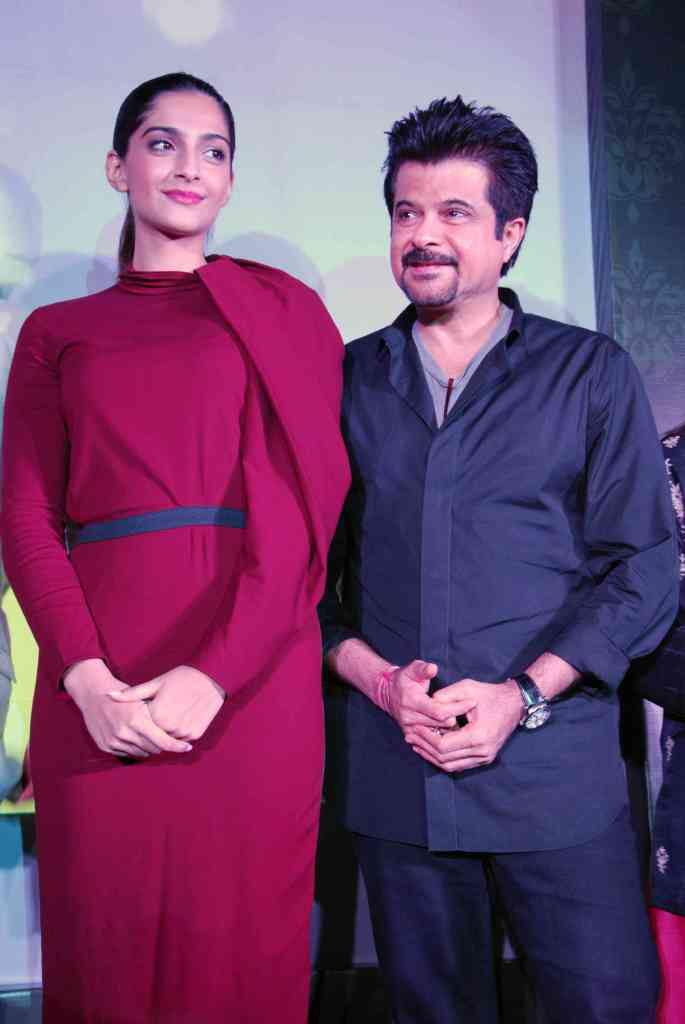 Sonam Kapoor in Red Long Dress1 - Sonam, Anil Kapoor, Farhan Akhtar At Legends Album Launch