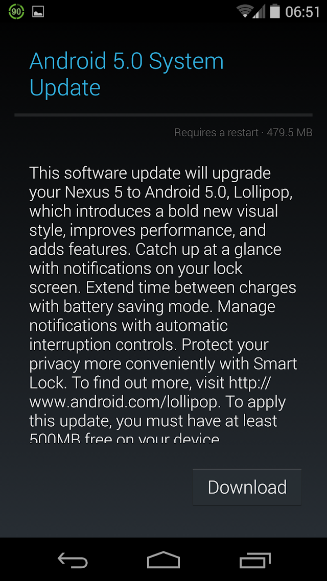 Official:Nexus 5 gets Android 5.0 L(Lollipop) in India