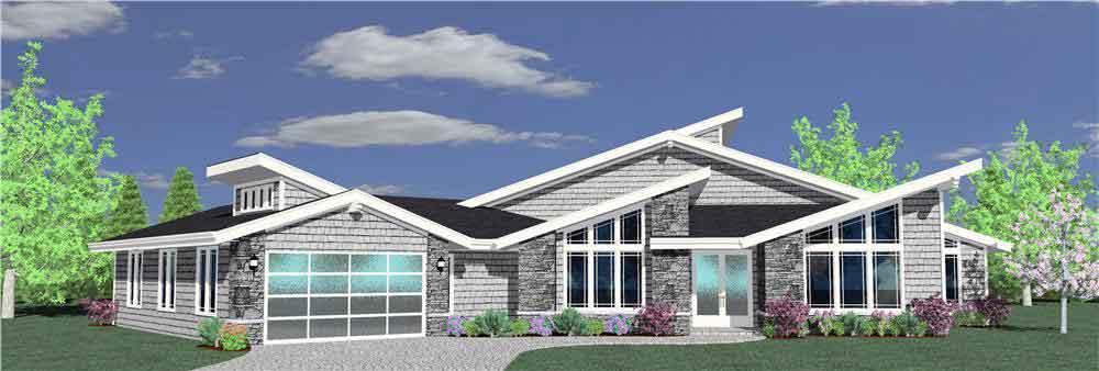 Planos y fachadas de casa habitaci n de un nivel con 4 for Casas modernas 4 aguas