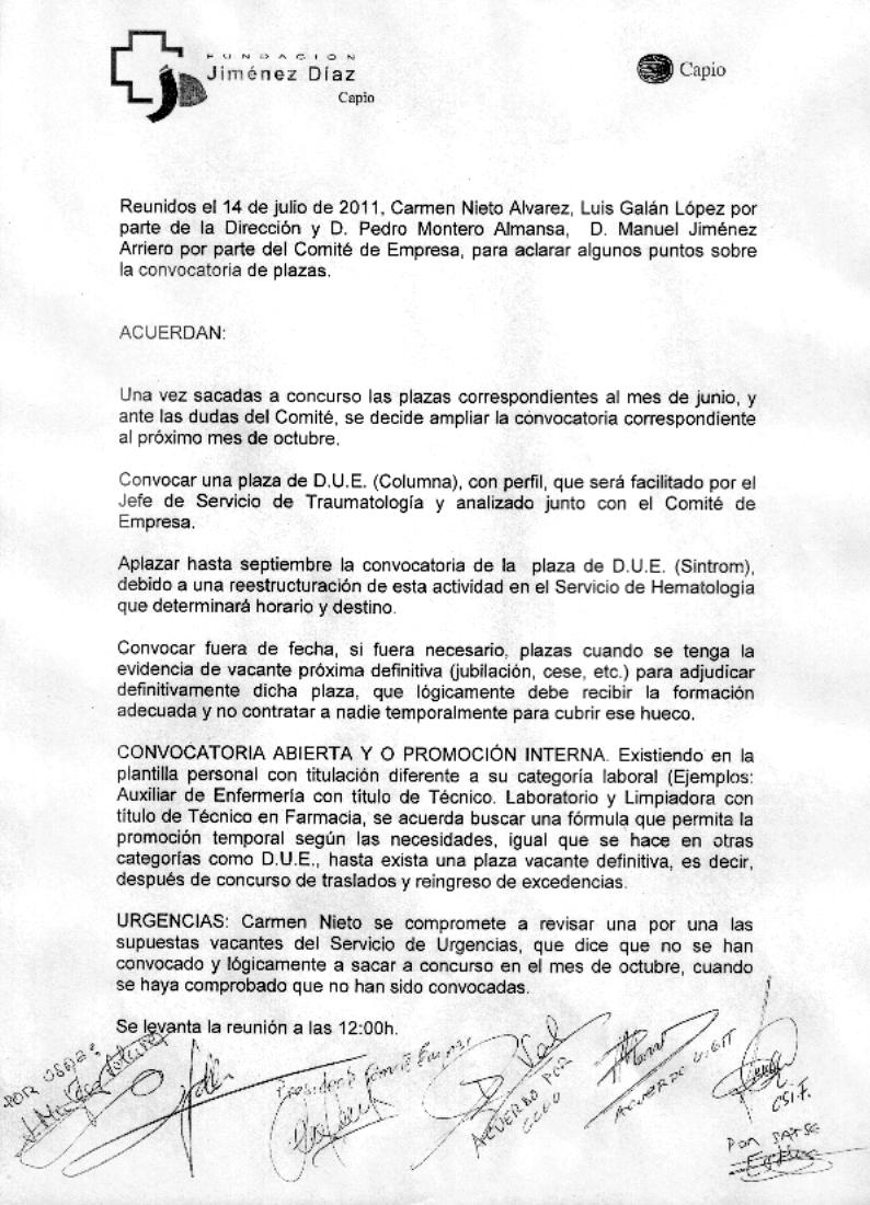CSIF FJD: Acuerdos C. Empresa con Dirección
