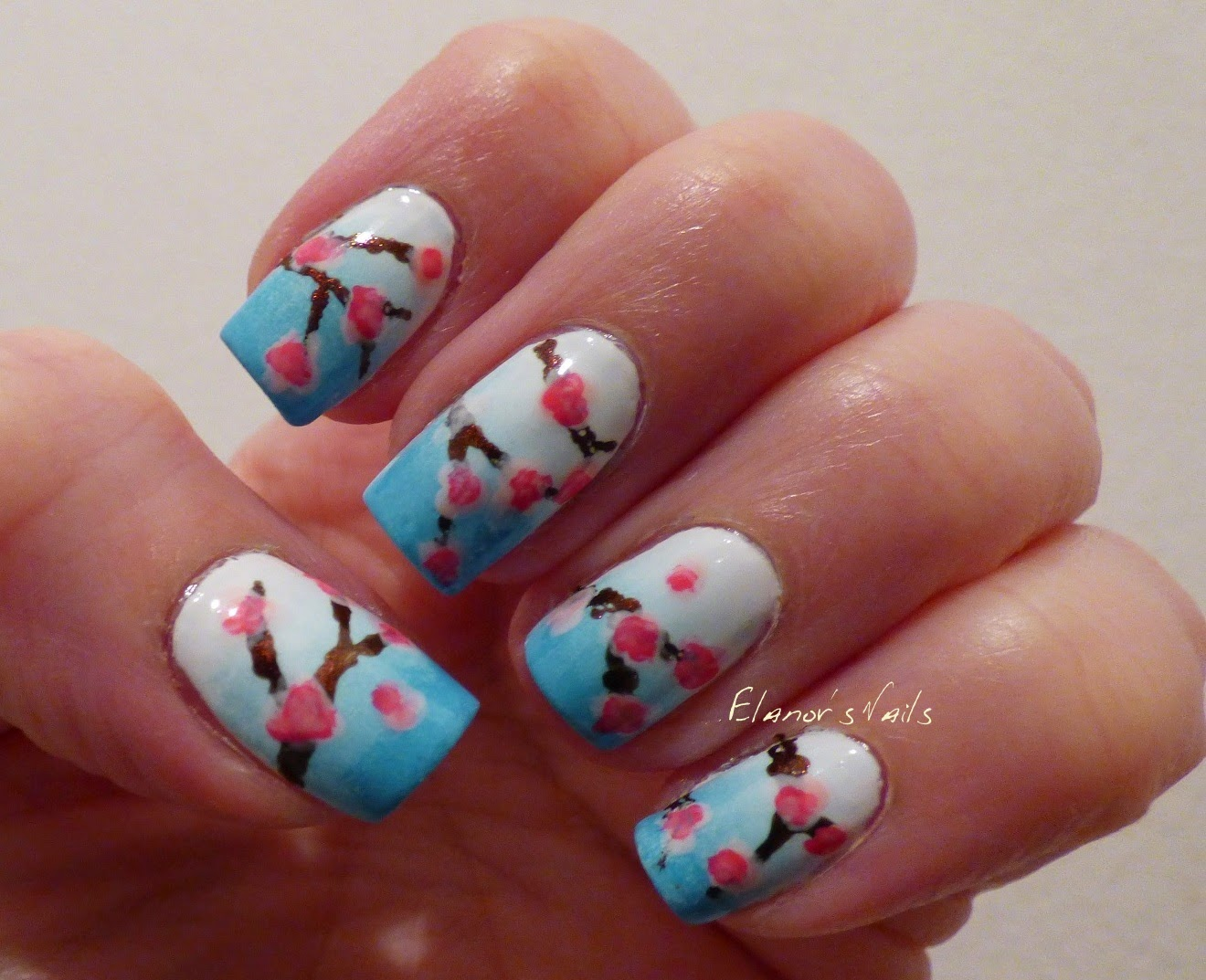 Elanors Nails Cherry Blossom Nail Art