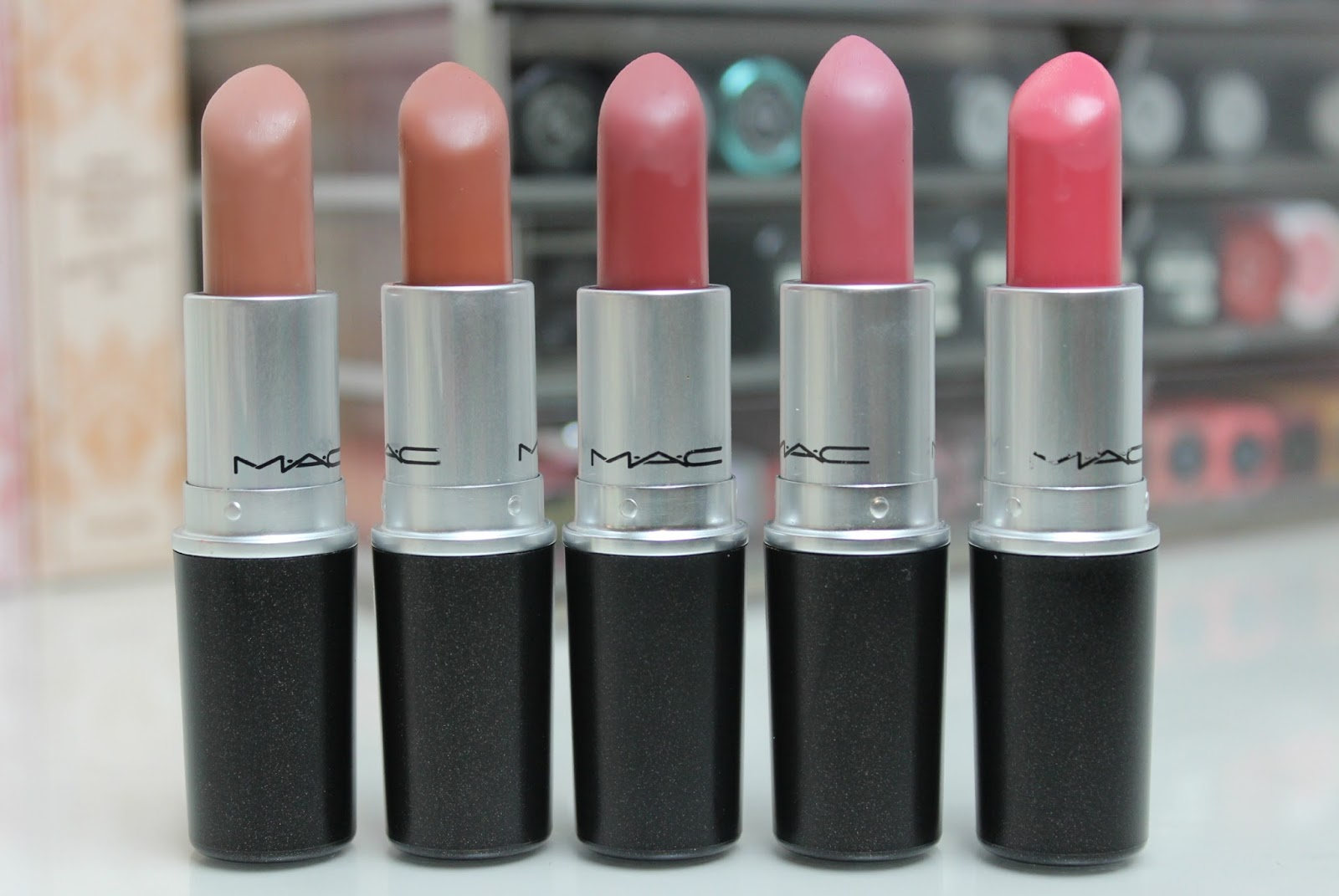 A picture of MAC lipsticks in shades Honey Love, Velvet Teddy, Mehr, Pink Plaid and Chatterbox
