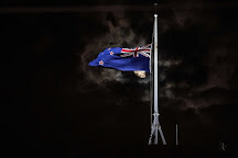 The New Zealand flag at half-mast at Parliament in Wellington.