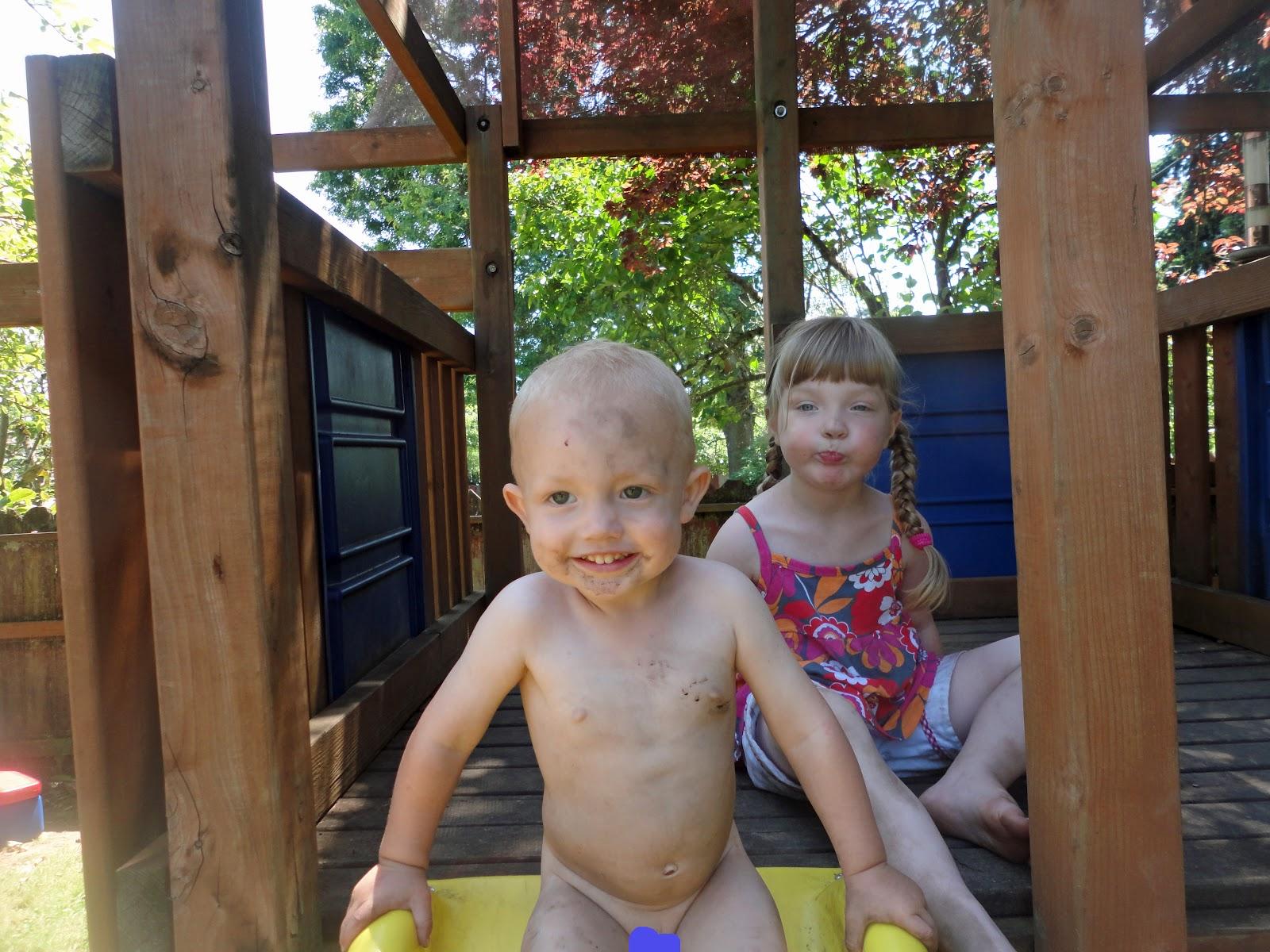 Nudist toddler girls playing