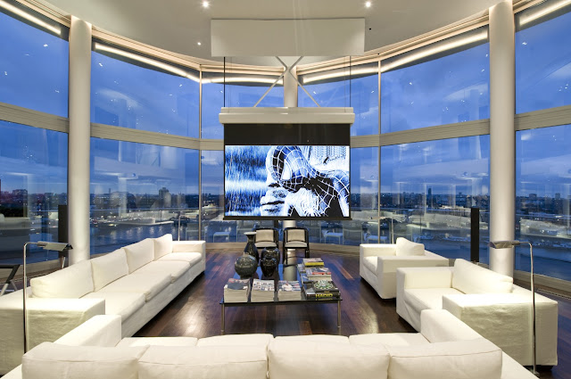 Picture of the living room interiors of the riverside penthouse with incredible city views
