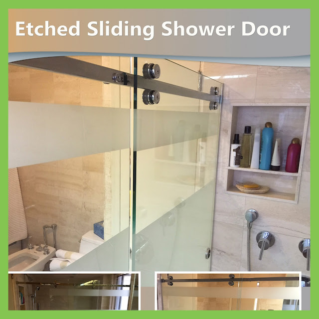 Etched Sliding Shower Door