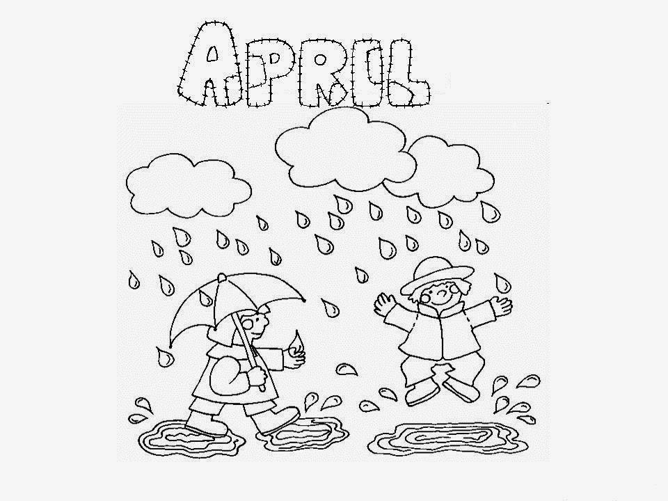 Dibujo de un día lluvioso del mes de abril para colorear - Dibujo Views