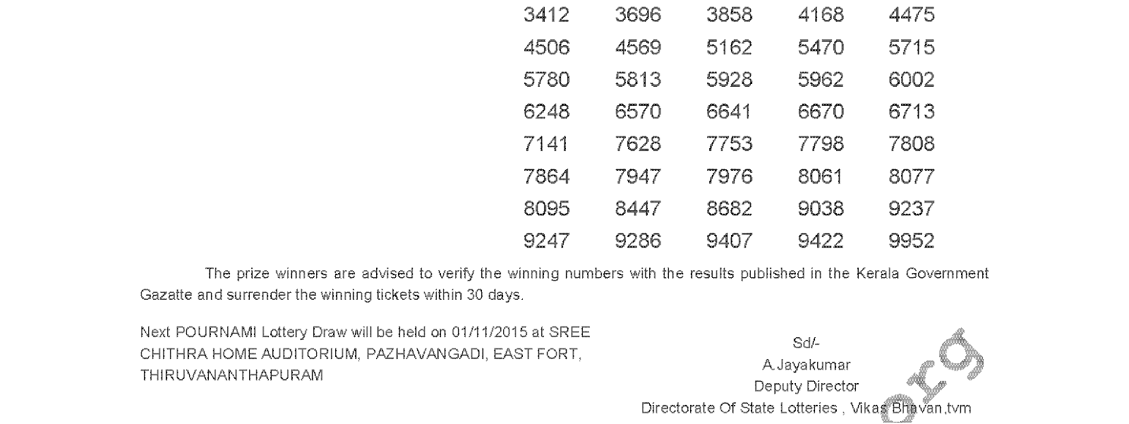 Pournami Lottery RN 208 Result 25-10-2015
