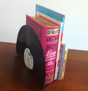 Old vinyl record crafts  Vinyl bookends www.thebrighterwriter.blogspot.com