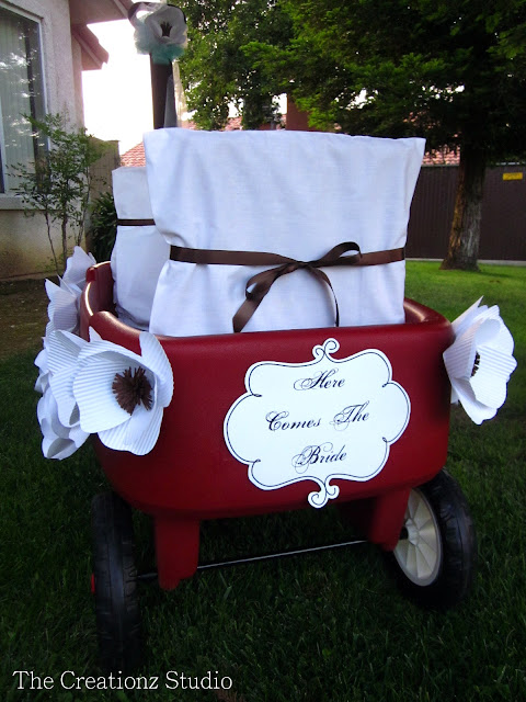 ring bearer wagon, decorated wagon, wedding