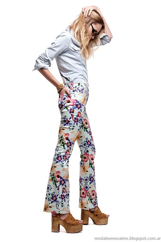 Basement primavera verano 2014. Pantalones floreados Moda verano 2014.