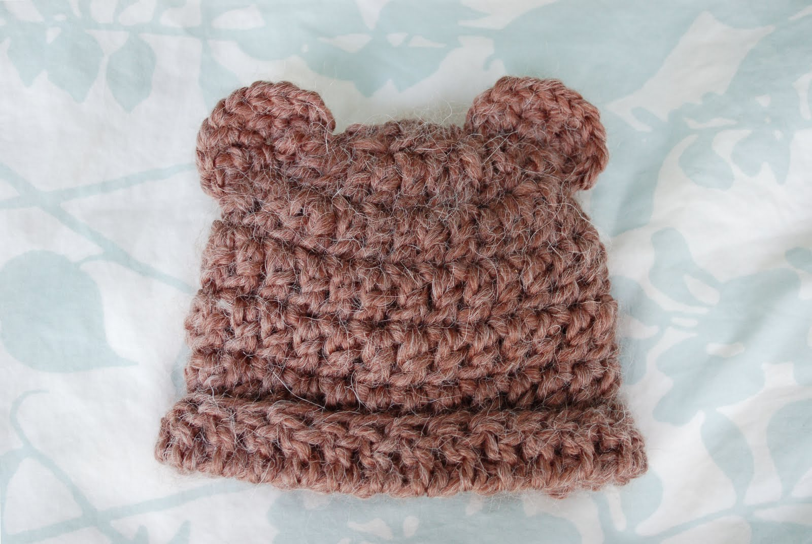 Crochet Baby Hat Bear Ears Pattern : Alli Crafts: Free Pattern: Fuzzy Bear Hat With Ears - 3 months